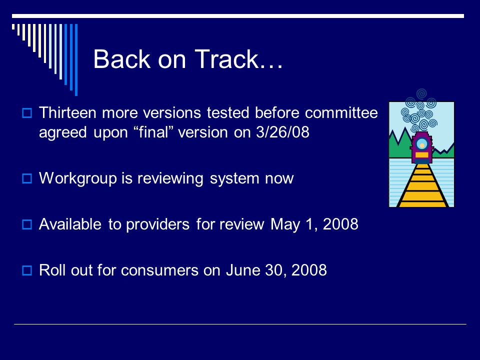 Back on Track… Thirteen more versions tested before committee agreed upon final version on 3/26/08.