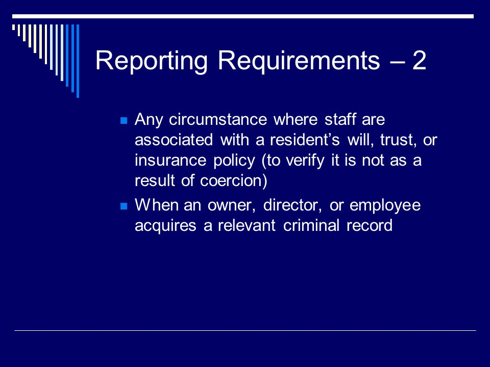 Reporting Requirements – 2