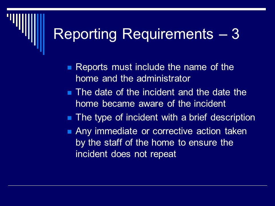Reporting Requirements – 3