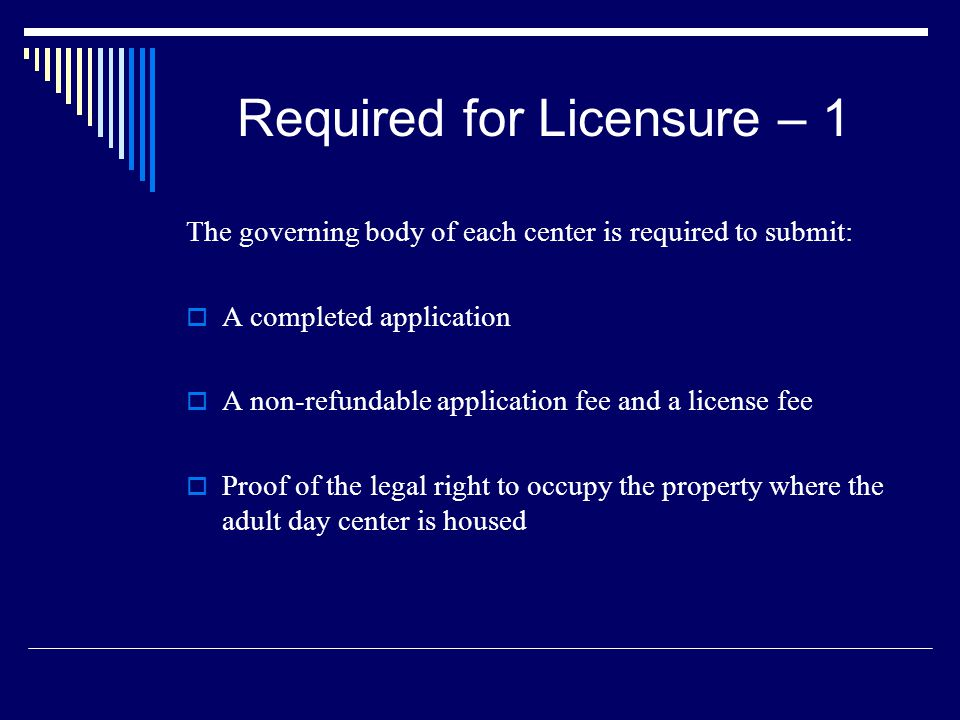 Required for Licensure – 1