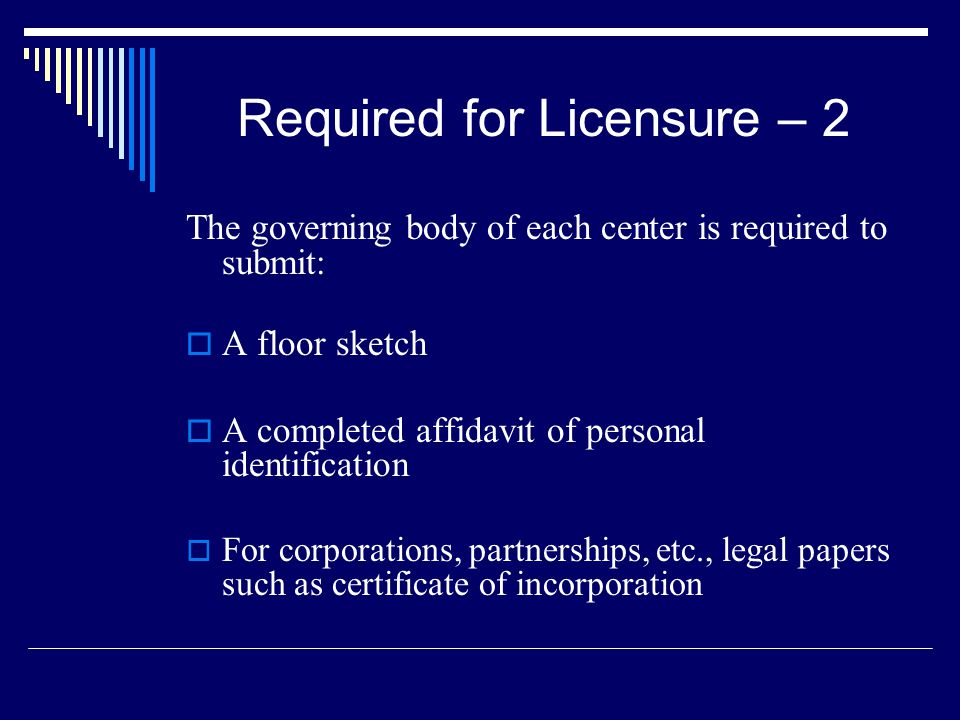 Required for Licensure – 2