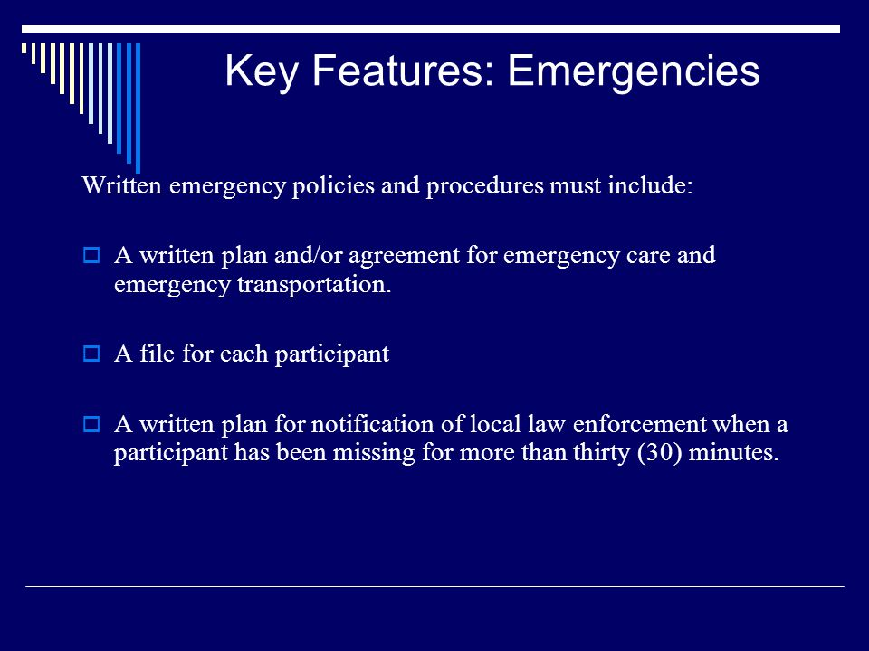 Key Features: Emergencies
