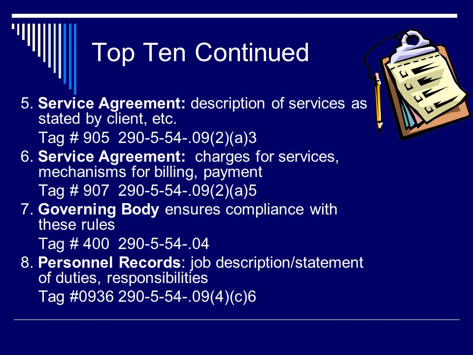 Top Ten Continued 5. Service Agreement: description of services as stated by client, etc. Tag # 905 290-5-54-.09(2)(a)3.