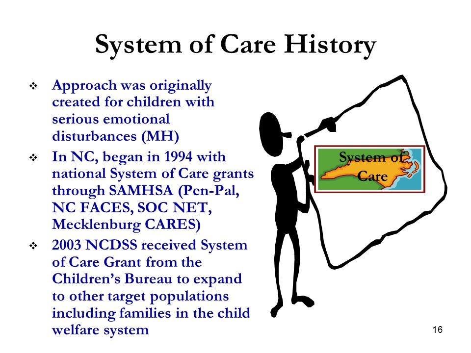System of Care History Approach was originally created for children with serious emotional disturbances (MH)