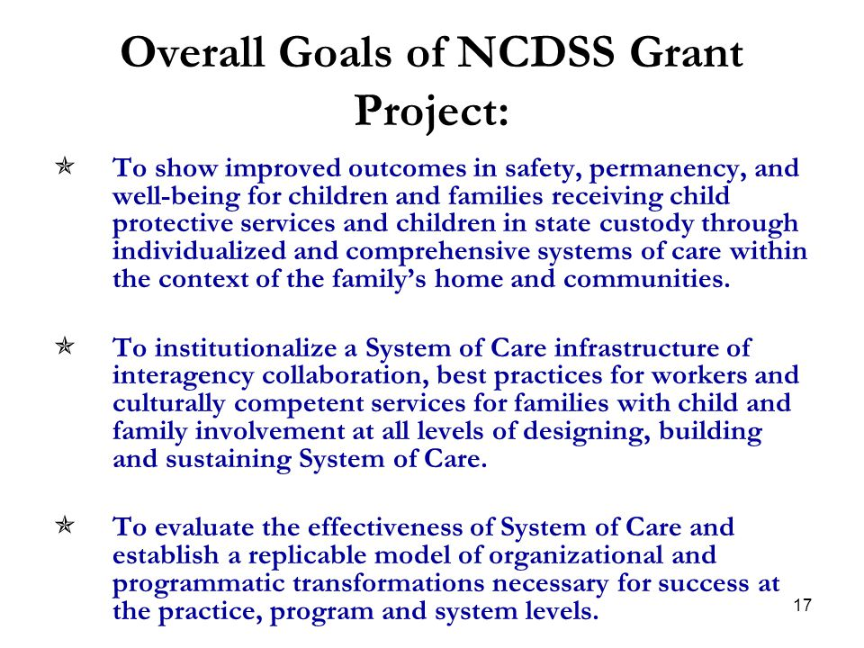 Overall Goals of NCDSS Grant Project: