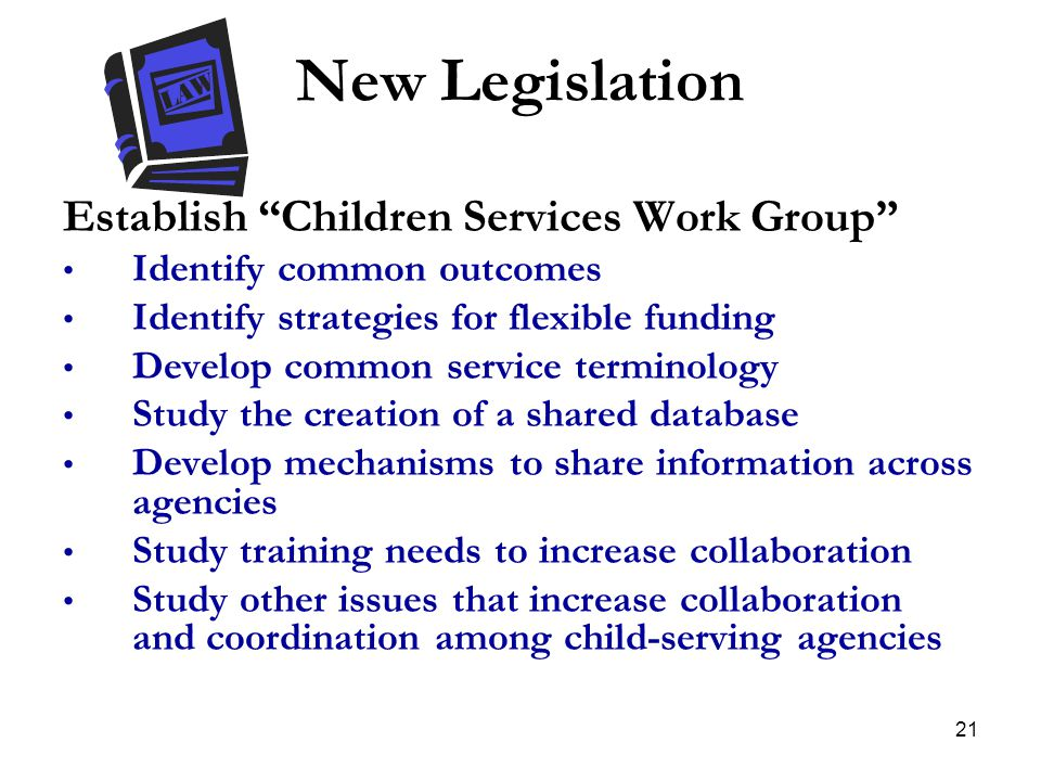 New Legislation Establish Children Services Work Group