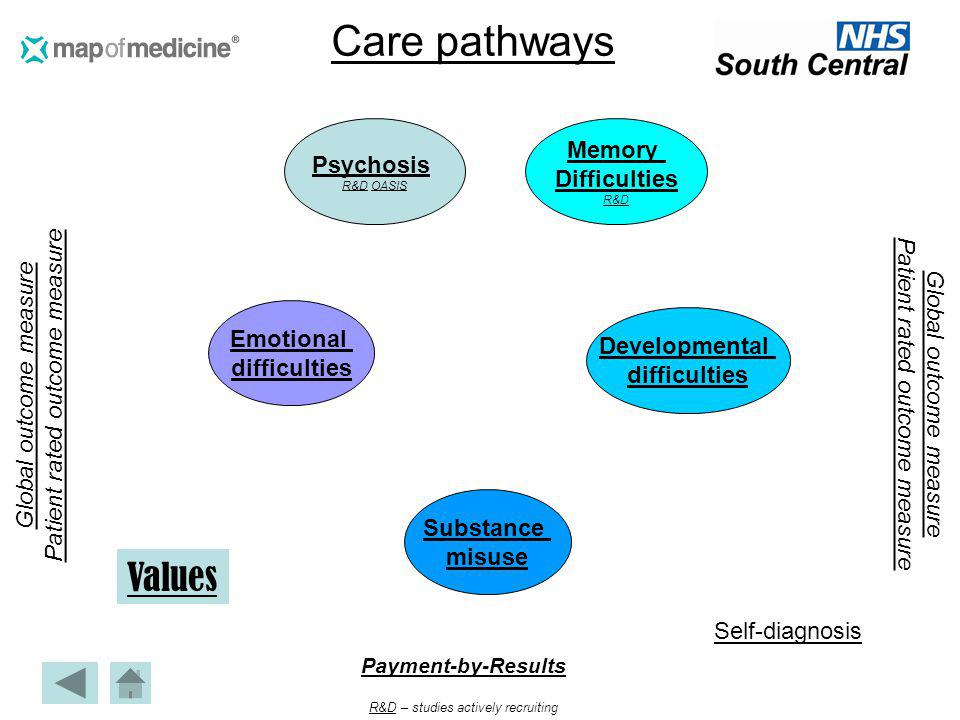 Care pathways Values Memory Psychosis Difficulties