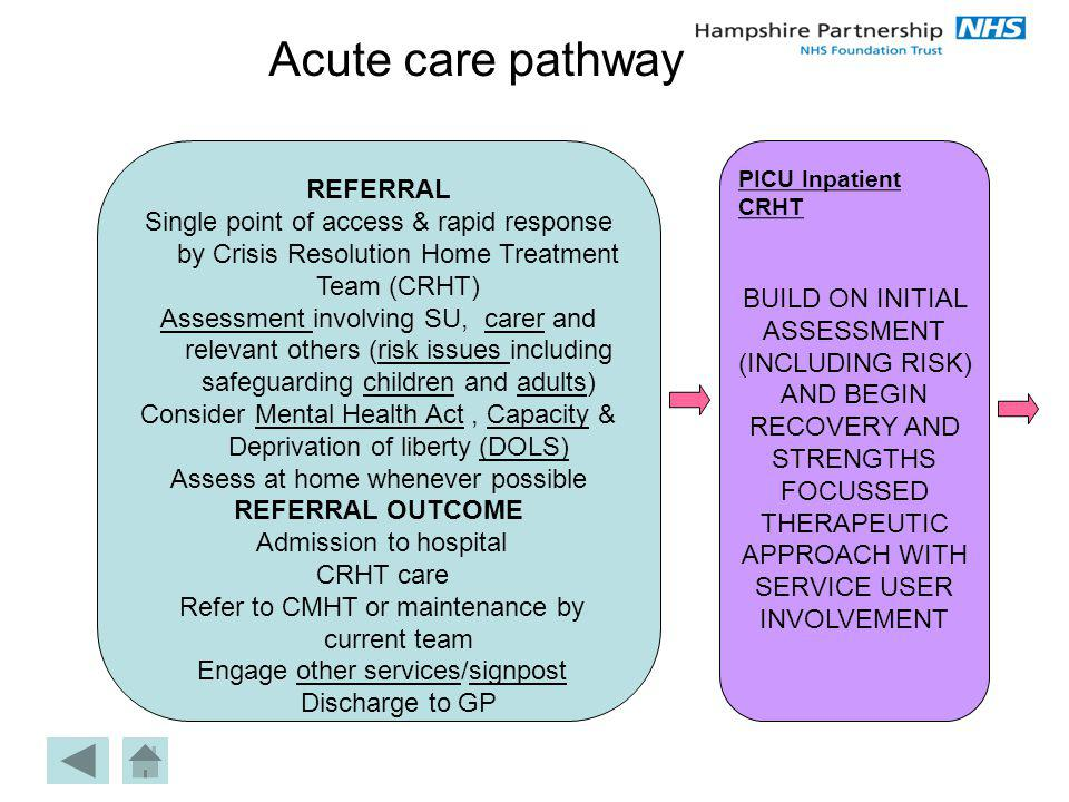 the conceptual approach to acute care We engaged in a 1-year process to develop a conceptual model representing an episode of acute, unscheduled care acute, unscheduled care includes acute illnesses (eg, nausea and vomiting), injuries, or exacerbations of chronic conditions (eg, worsening dyspnea in congestive heart failure) and is delivered in emergency departments.