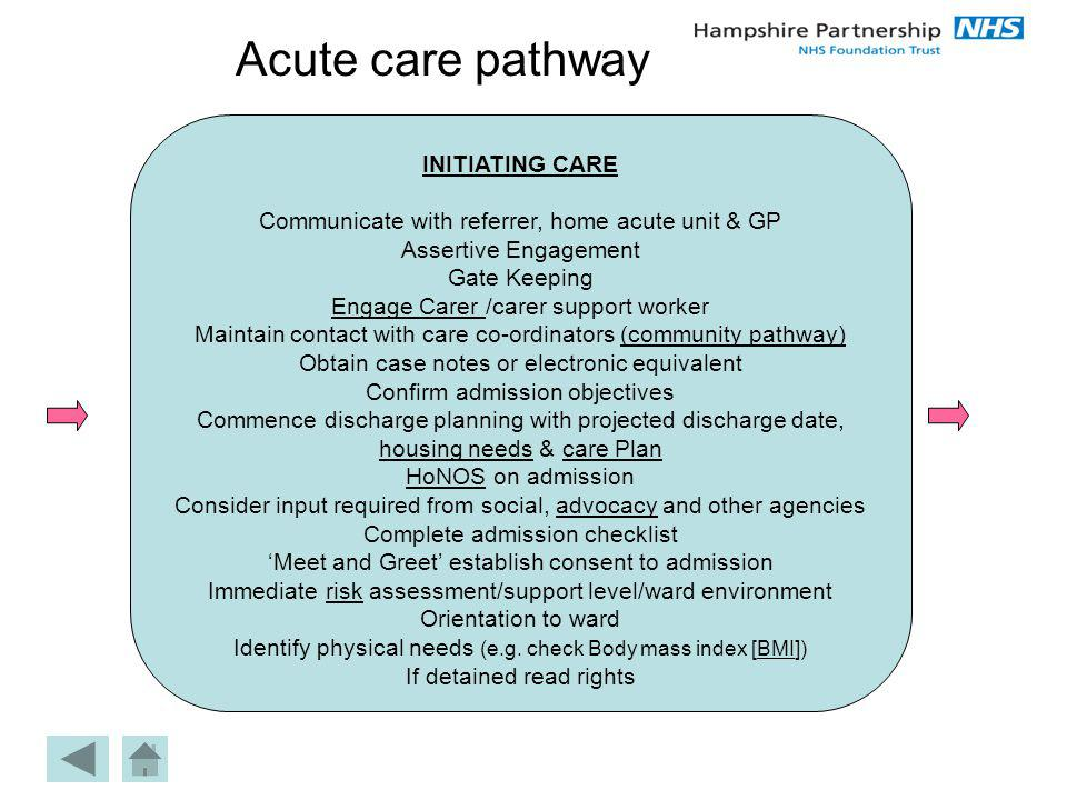 Acute care pathway INITIATING CARE