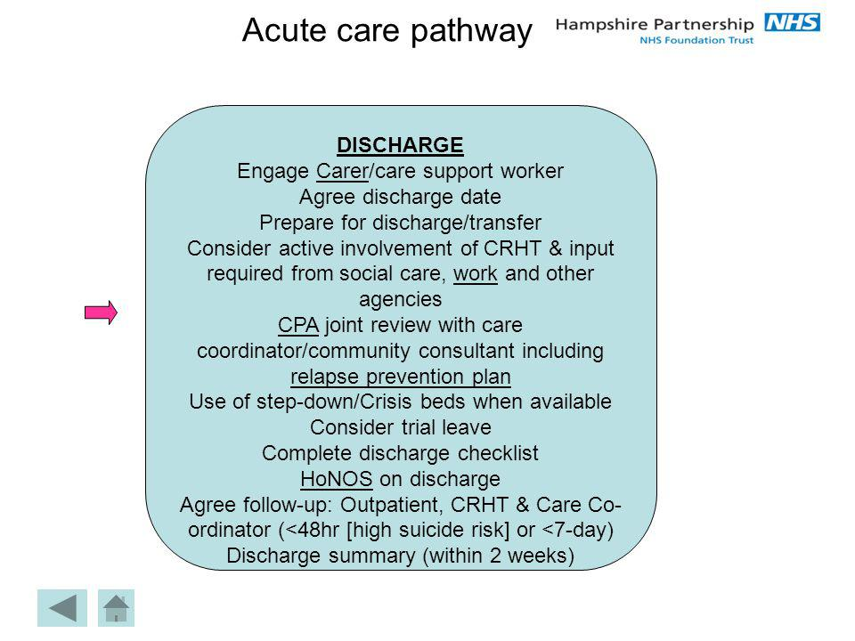 Acute care pathway DISCHARGE Engage Carer/care support worker