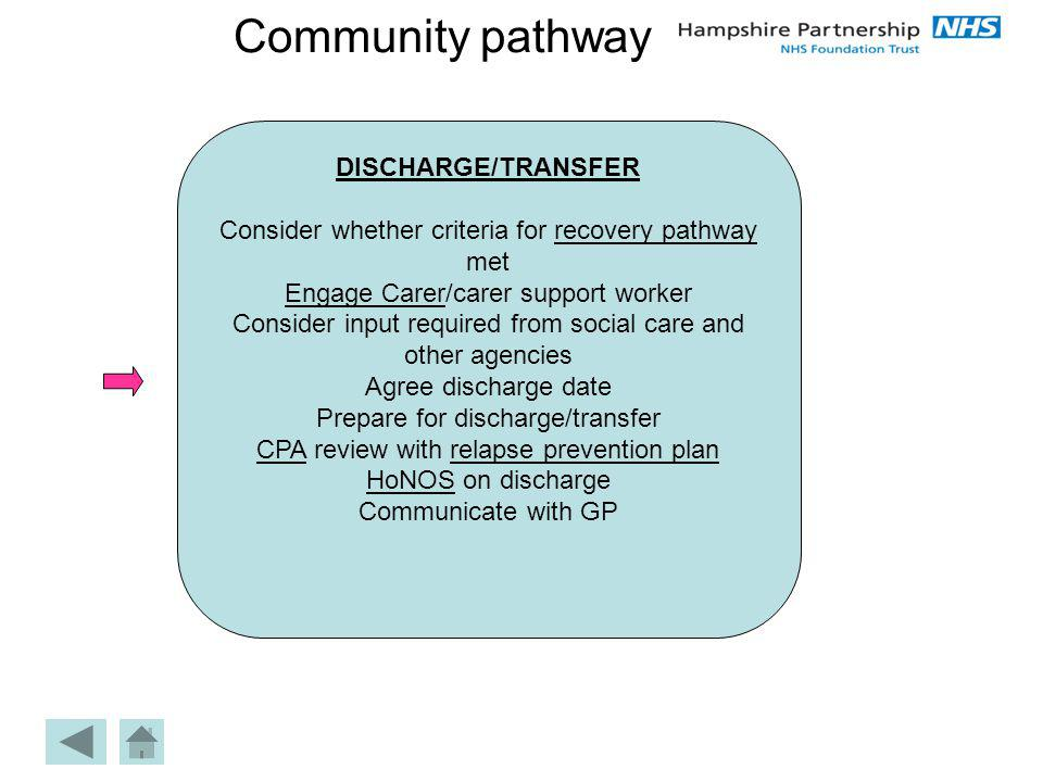 Community pathway DISCHARGE/TRANSFER