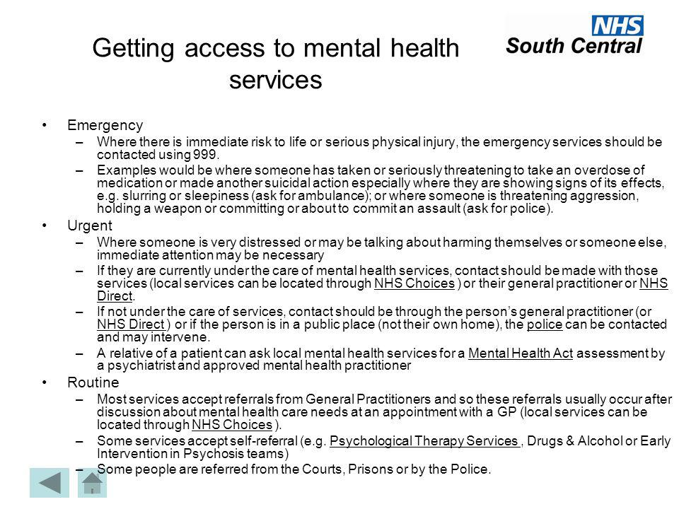 Getting access to mental health services