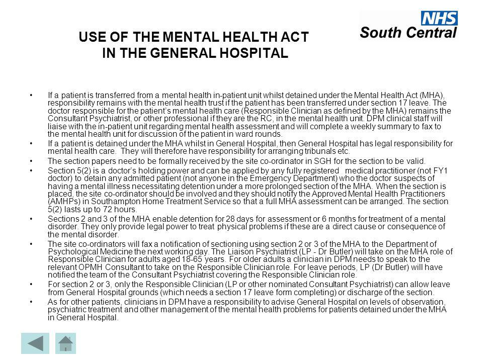 sections of the mental health act Sop2012-010 page 2 of 2 standard operating policy section 20 – mental health act 2007  the purpose of this standard operating procedure is to explain the legal obligations and procedures involved.