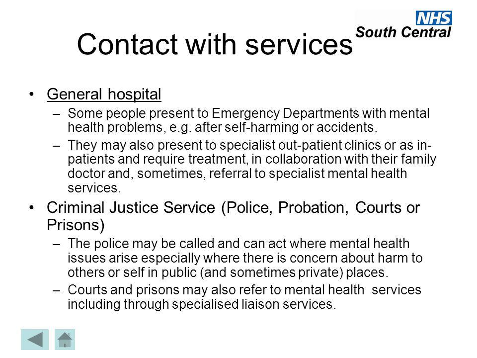 Contact with services General hospital