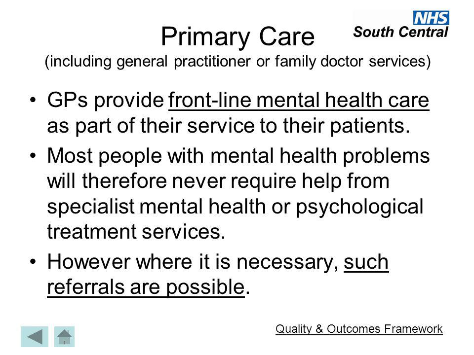 Primary Care (including general practitioner or family doctor services)