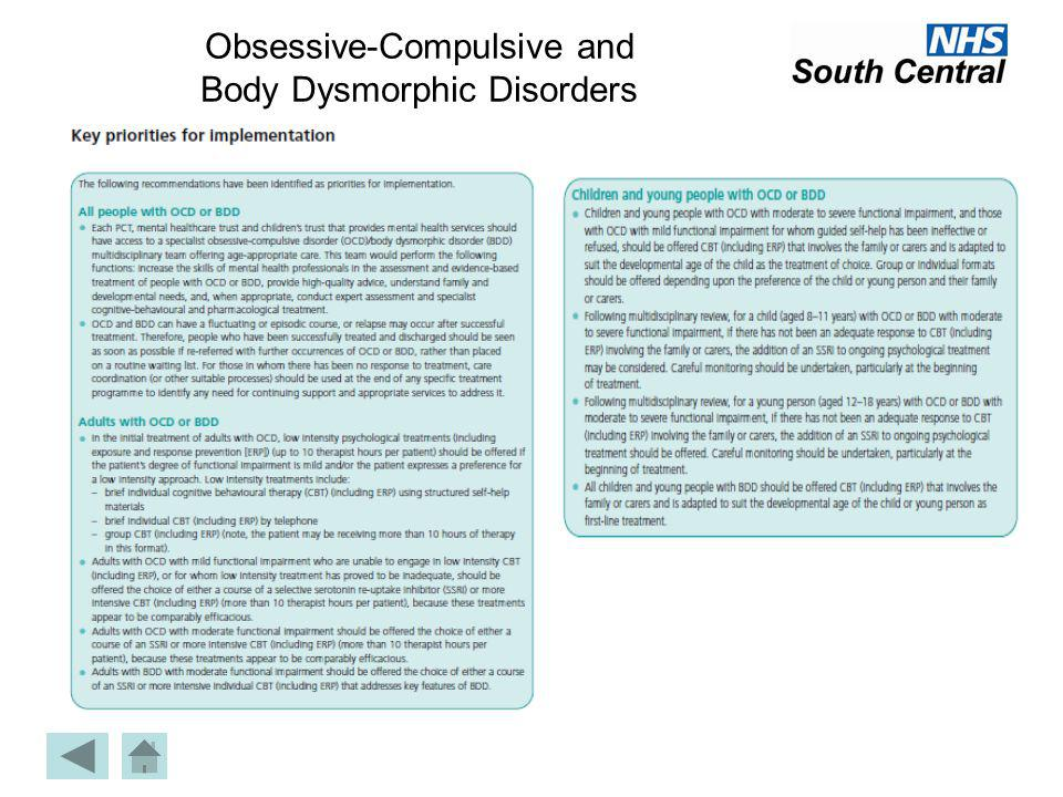 Obsessive-Compulsive and Body Dysmorphic Disorders