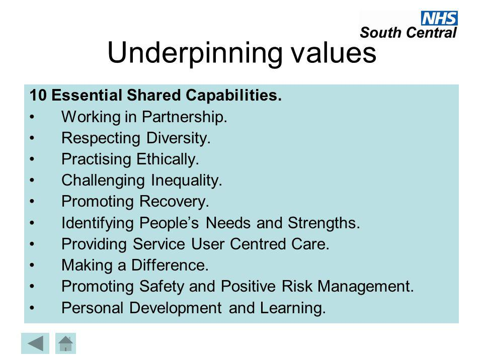 Underpinning values 10 Essential Shared Capabilities.