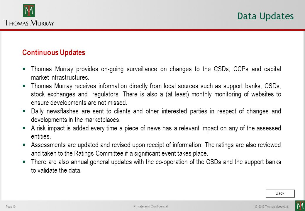 Data Updates Continuous Updates