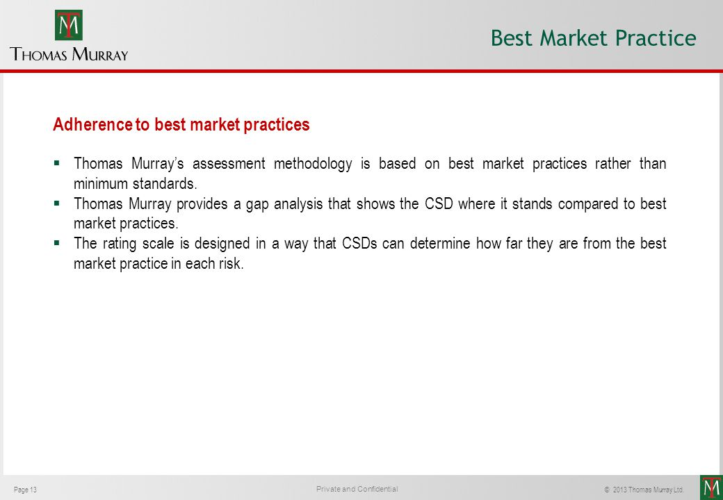 Best Market Practice Adherence to best market practices