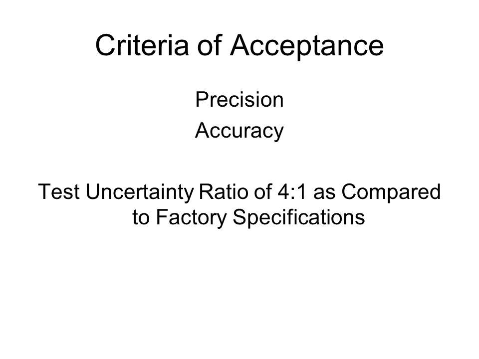 Criteria of Acceptance