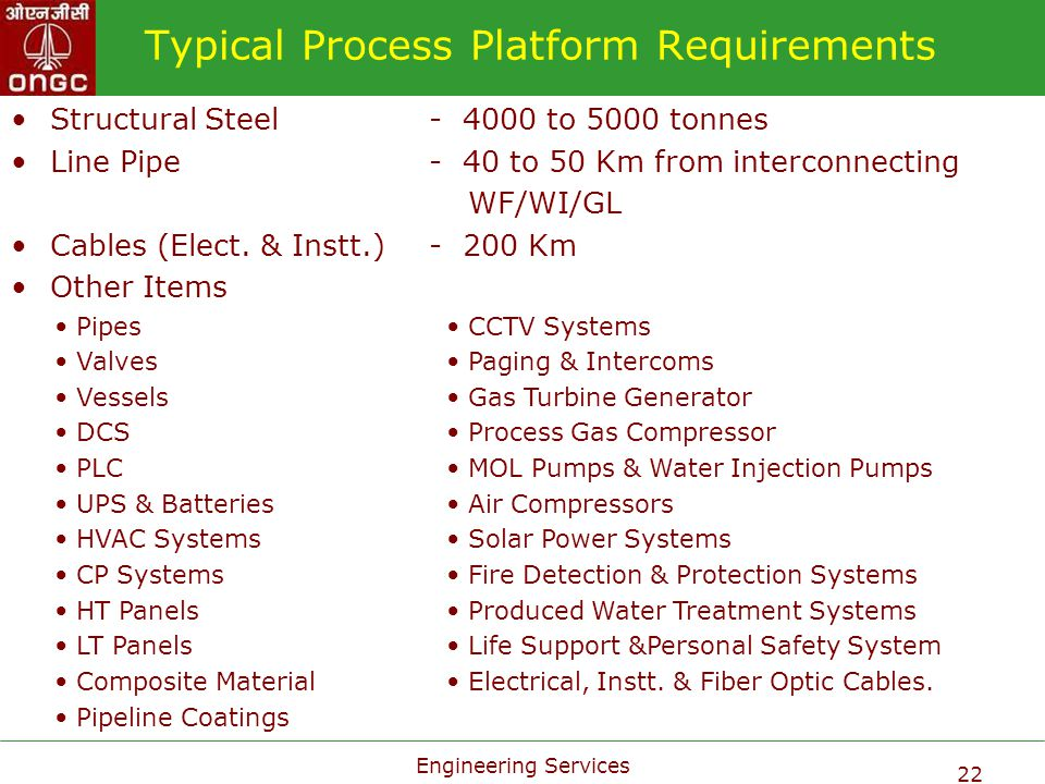 Typical Process Platform Requirements