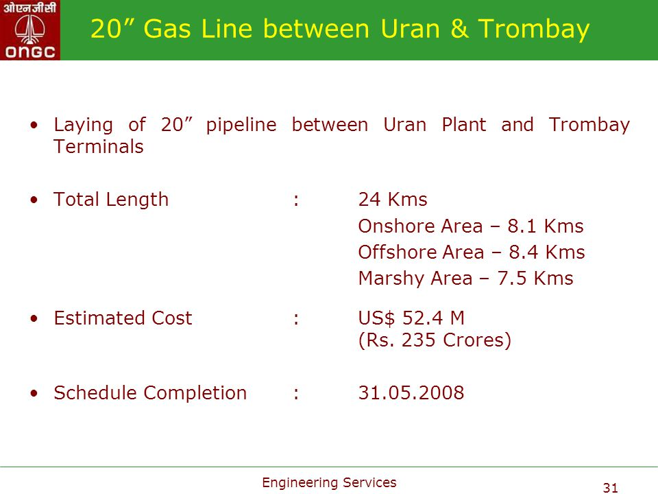 20 Gas Line between Uran & Trombay