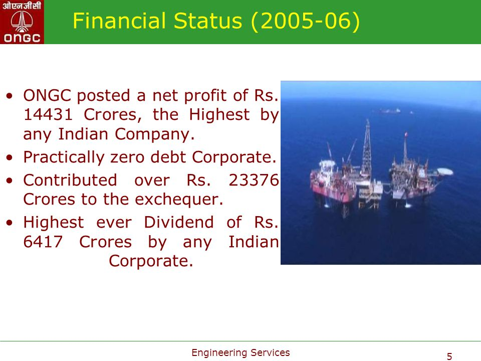 Financial Status (2005-06) ONGC posted a net profit of Rs. 14431 Crores, the Highest by any Indian Company.