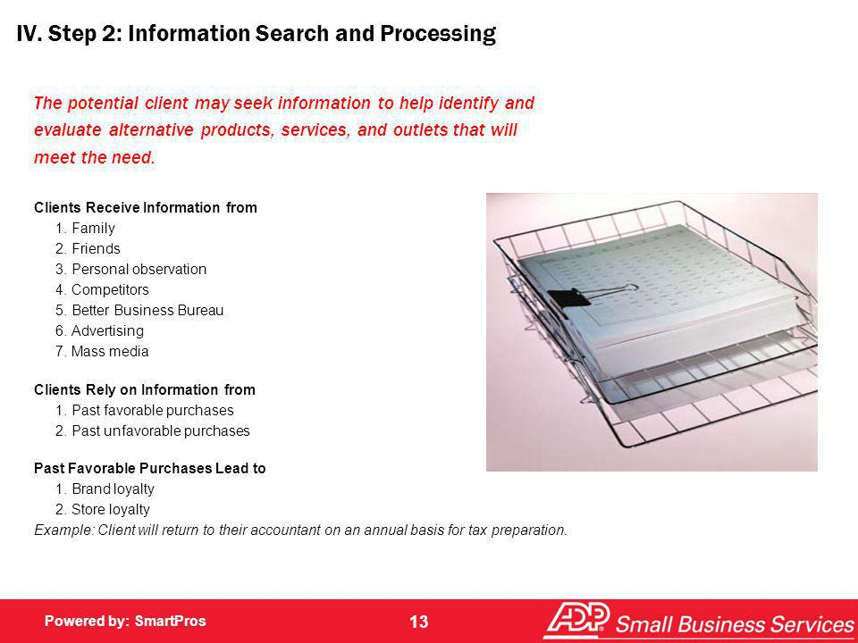 IV. Step 2: Information Search and Processing