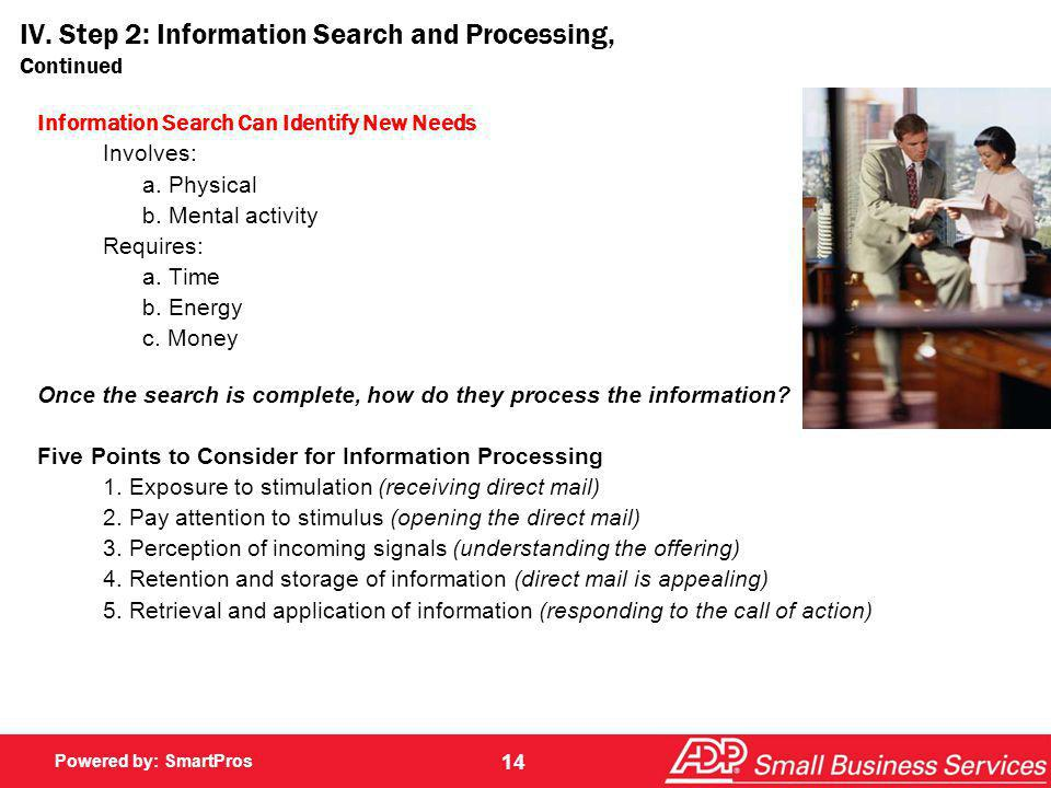 IV. Step 2: Information Search and Processing, Continued