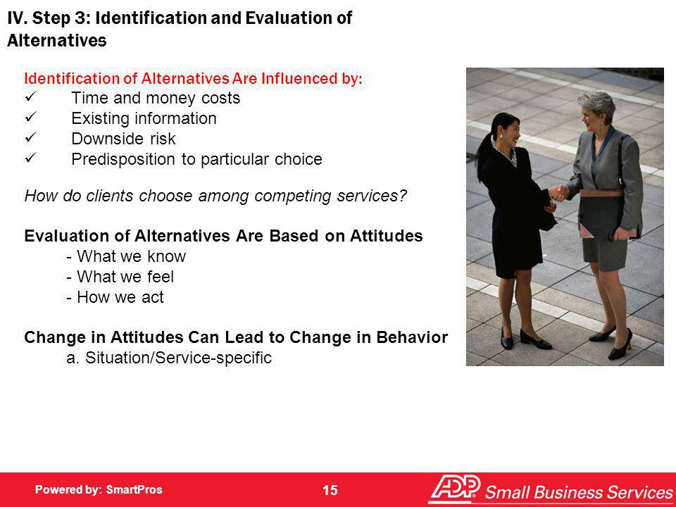 IV. Step 3: Identification and Evaluation of Alternatives