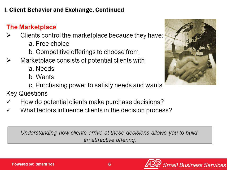 I. Client Behavior and Exchange, Continued