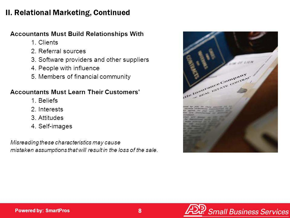 II. Relational Marketing, Continued