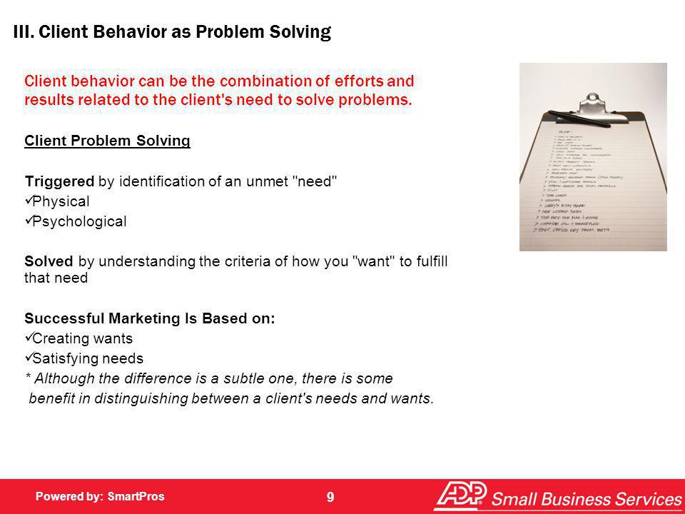 III. Client Behavior as Problem Solving