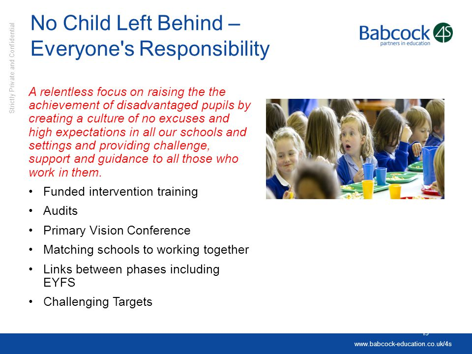 No Child Left Behind – Everyone s Responsibility