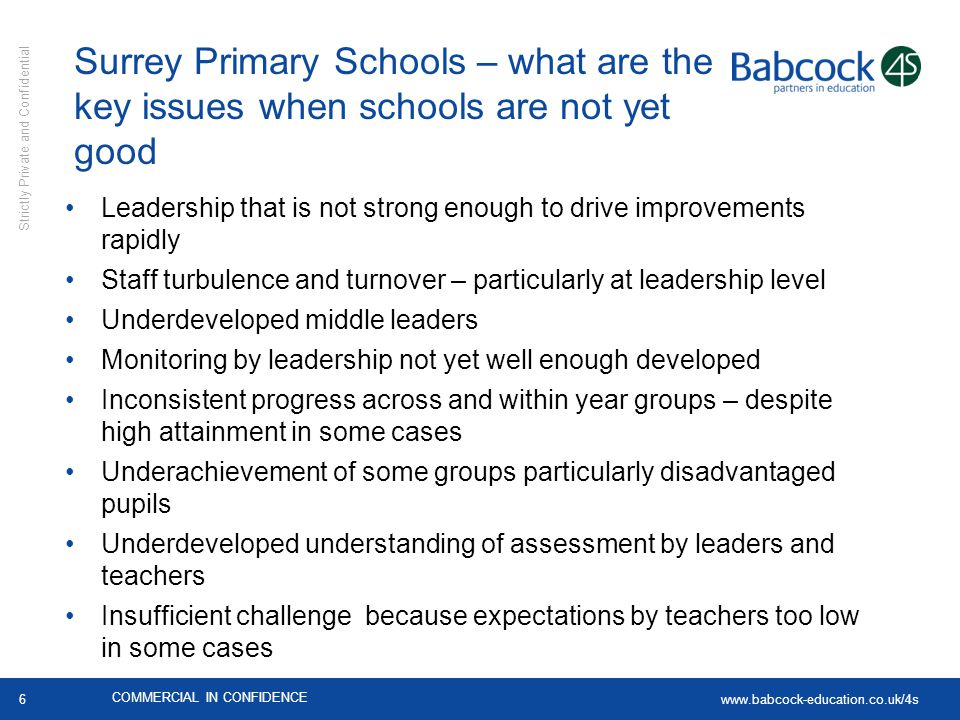 Surrey Primary Schools – what are the key issues when schools are not yet good