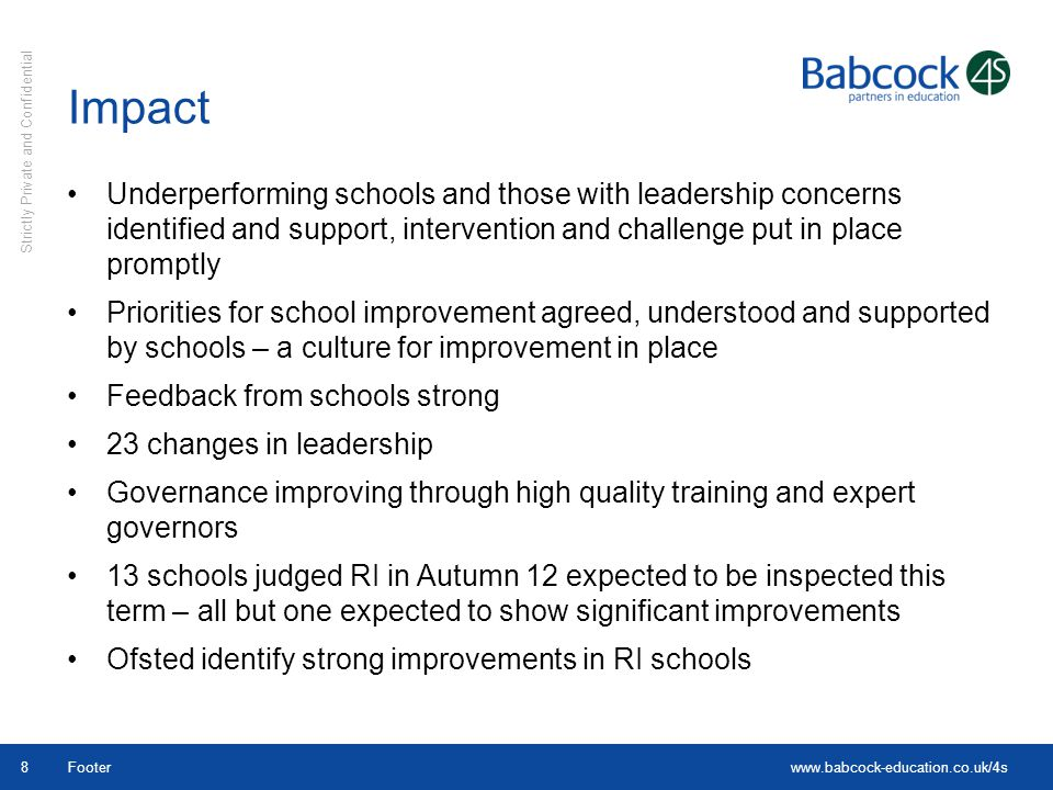 Impact Underperforming schools and those with leadership concerns identified and support, intervention and challenge put in place promptly.