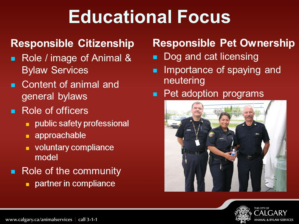 Educational Focus Responsible Citizenship Responsible Pet Ownership