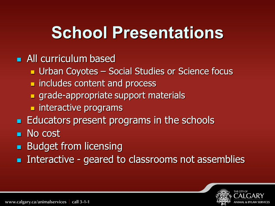 School Presentations All curriculum based