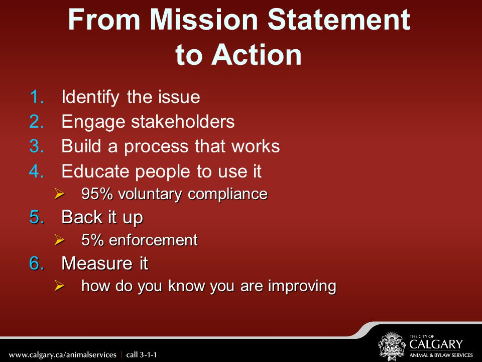 From Mission Statement to Action