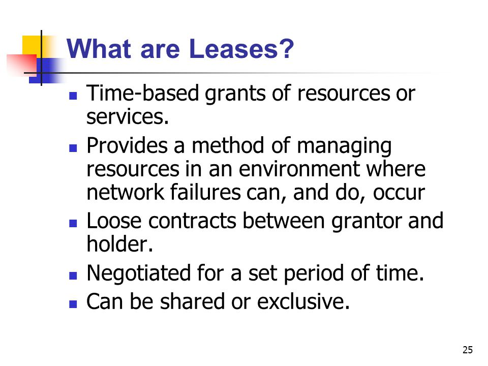 What are Leases Time-based grants of resources or services.