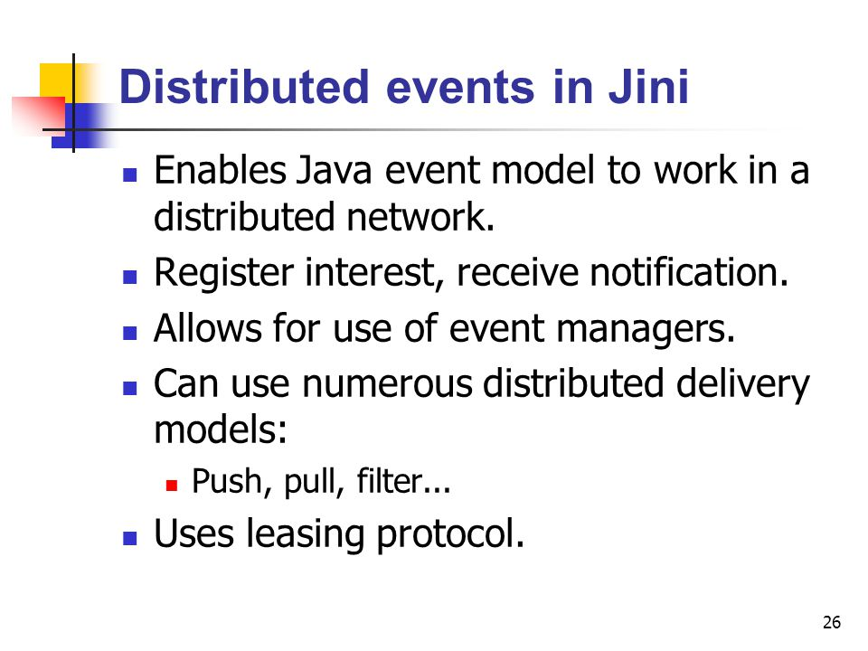Distributed events in Jini