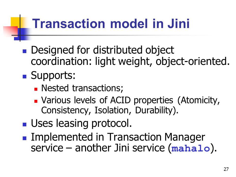 Transaction model in Jini
