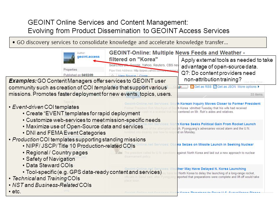 GEOINT Online Services and Content Management: