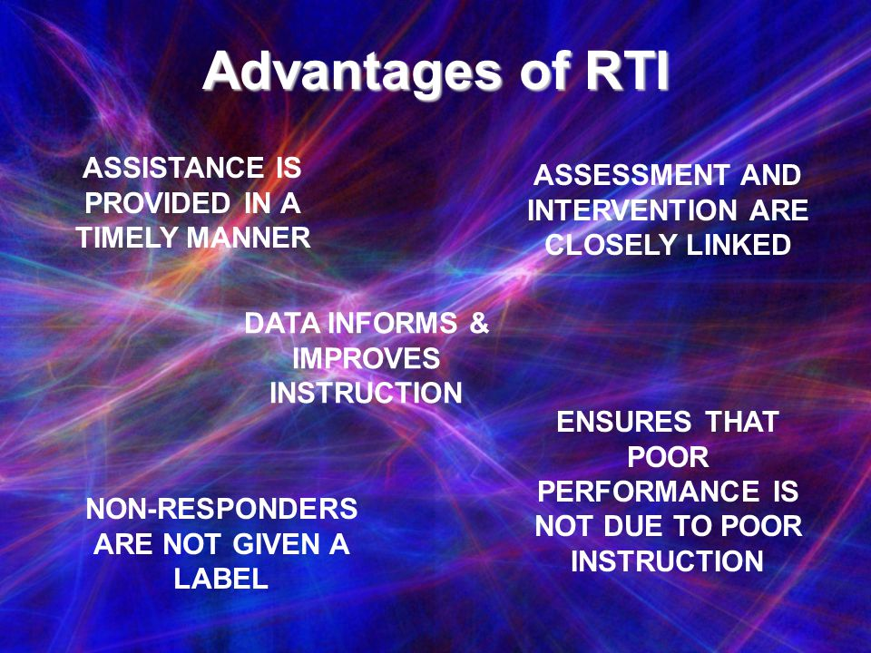 Advantages of RTI ASSISTANCE IS PROVIDED IN A TIMELY MANNER
