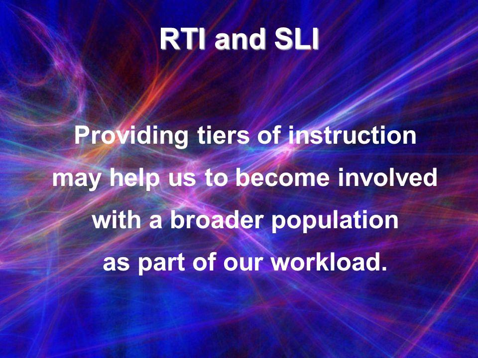 RTI and SLI Providing tiers of instruction