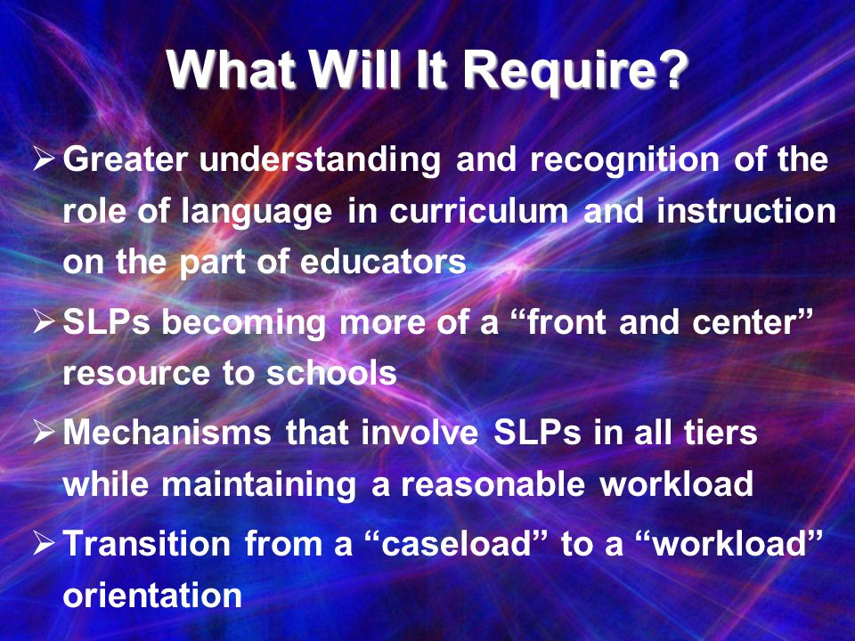 What Will It Require Greater understanding and recognition of the role of language in curriculum and instruction on the part of educators.
