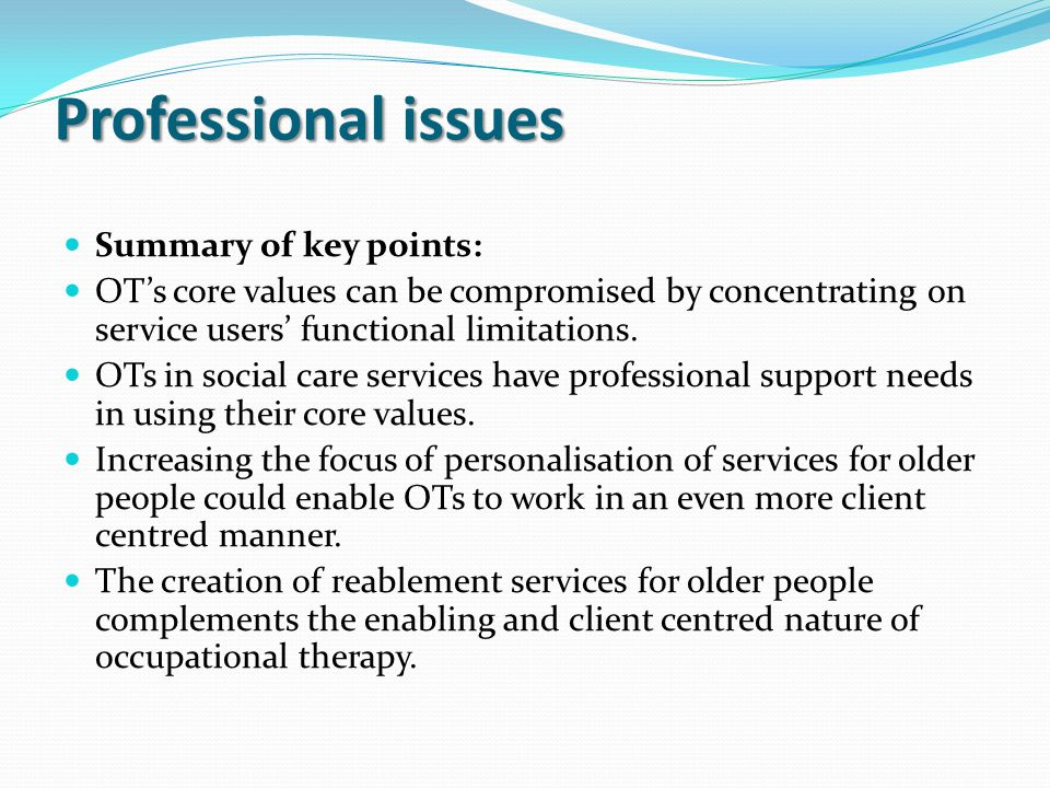 Professional issues Summary of key points: