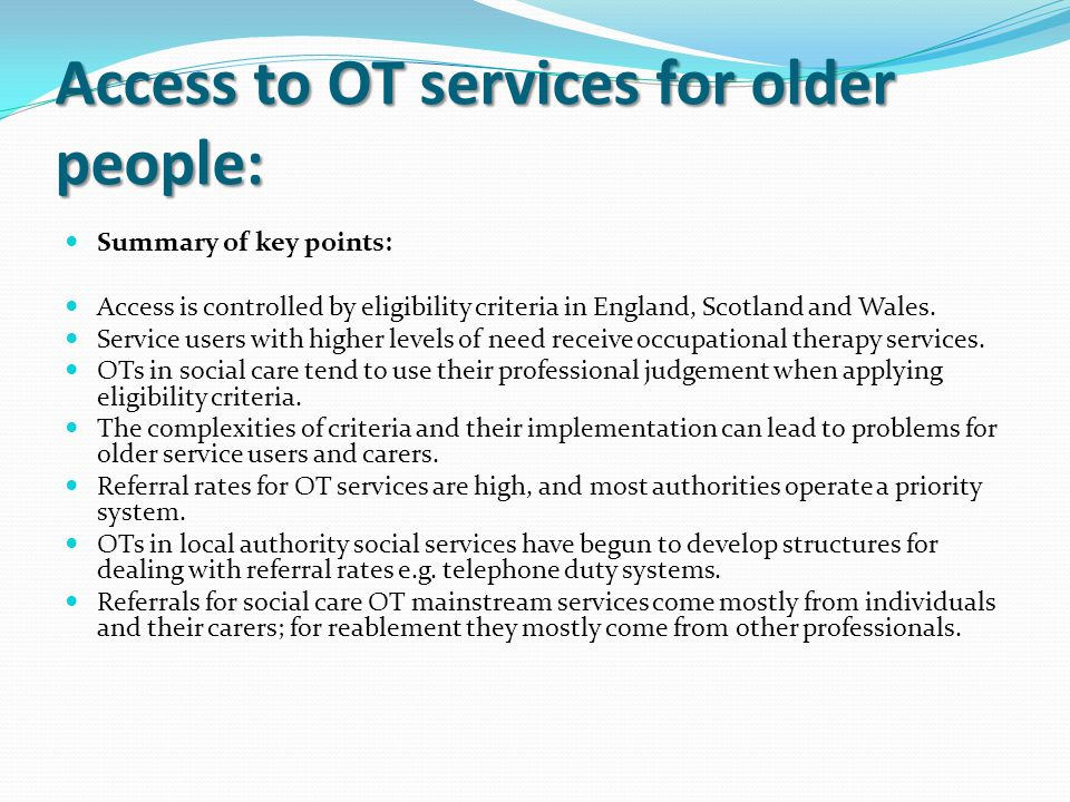 Access to OT services for older people: