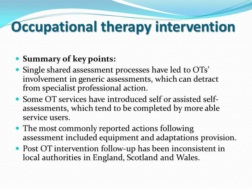 Occupational therapy intervention
