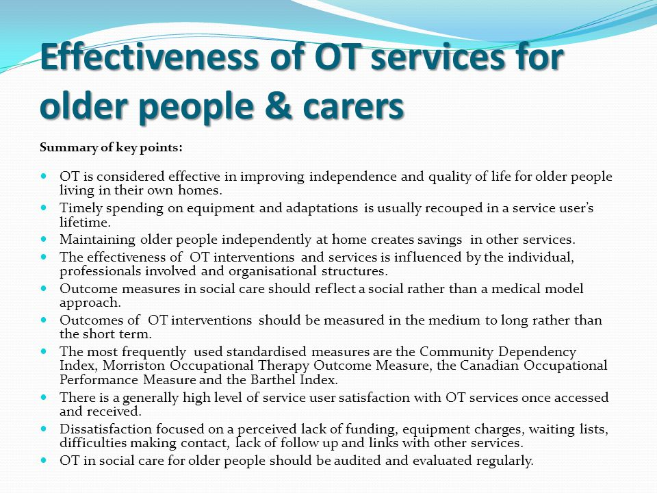 Effectiveness of OT services for older people & carers